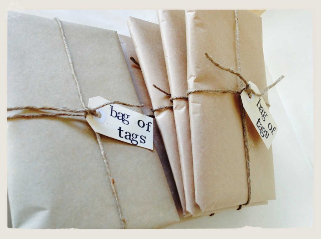 bags of tags in brown paper